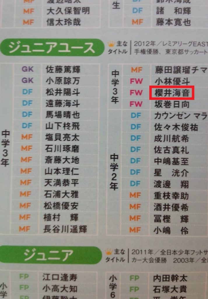 桜井海音(Kaito)はサッカーの東京ヴェルディジュニアユース出身